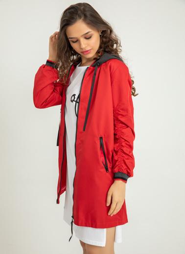 Foremia Soft Uzun Bomber Ceket Kırmızı
